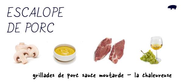 La chaleureuse, escalope de porc sauce moutarde
